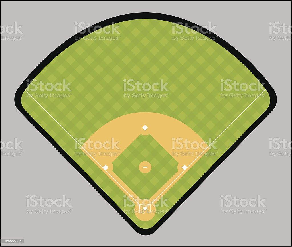 Illustration of a green and tan baseball field vector art illustration