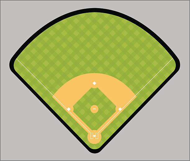 Illustration of a green and tan baseball field baseball field infield stock illustrations