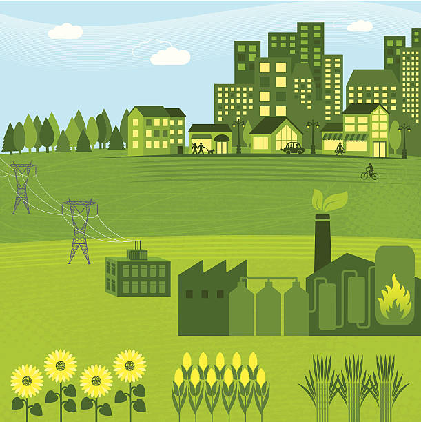 Illustration of a green bio energy graphic Bioenergy powering a city alternative fuel vehicle stock illustrations