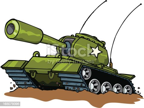 Illustration Of A Green Military Tank With A White Star ...