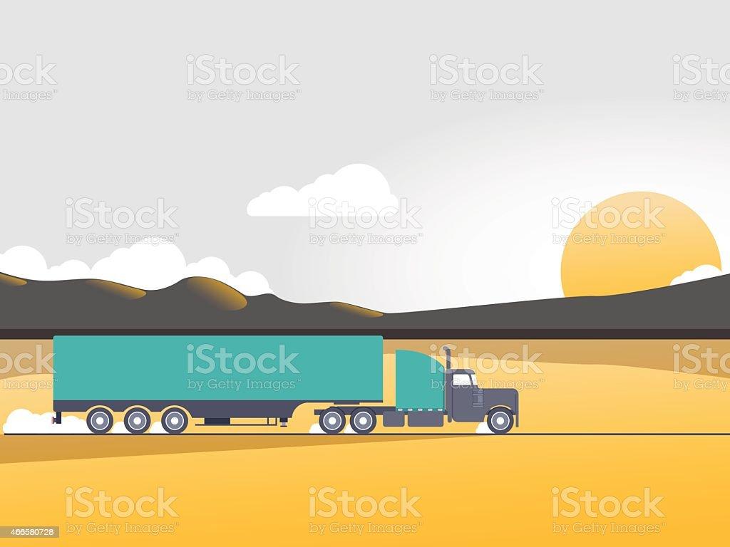 Illustration of a green semi truck driving in the desert vector art illustration