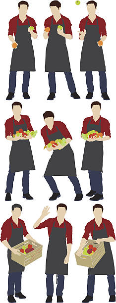 Illustration of a grocer Illustration of a grocerhttp://www.twodozendesign.info/i/1.png apron isolated stock illustrations