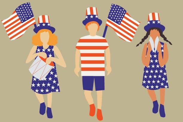 Illustration of a group of people celebrating 4th July Independence Day of USA vector art illustration