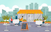 istock Illustration of a group of people eating outdoors at a restaurant during the pandemic 1285195940