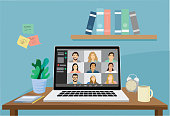 Illustration of a laptop screen showing a group of people in a video conference – quarantine lifestyle