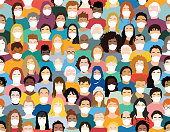 Illustration of a group of people wearing facemasks creating a colorful pattern - COVID-19 pandemic concepts