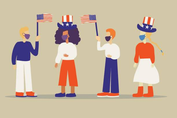 Illustration of a group of people with face masks celebrating 4th July Independence Day of USA vector art illustration