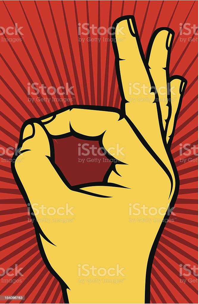 Illustration of a hand giving an OK gesture royalty-free stock vector art