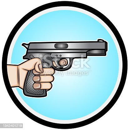 istock Illustration of a Hand Hold A Gun 1342401219