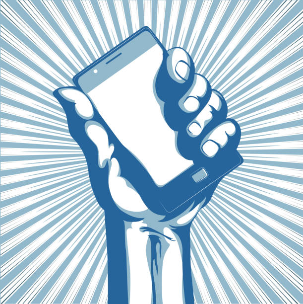Illustration of a hand holding a cellphone and a sunburst vector art illustration