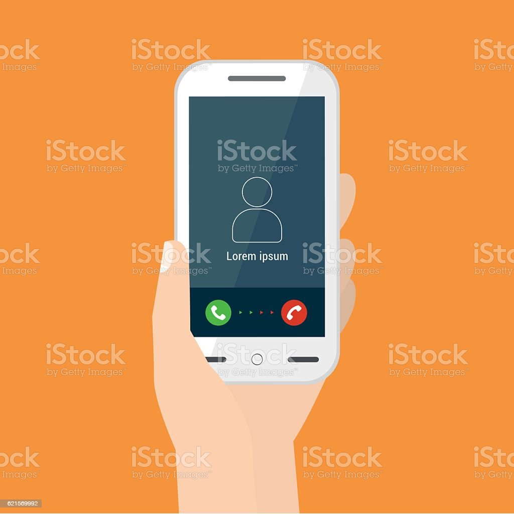 Illustration of a hand holding a mobile with a call illustration of a hand holding a mobile with a call – cliparts vectoriels et plus d'images de carré - composition libre de droits