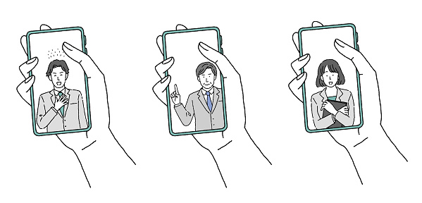 Illustration of a hand holding a smartphone and a businessperson