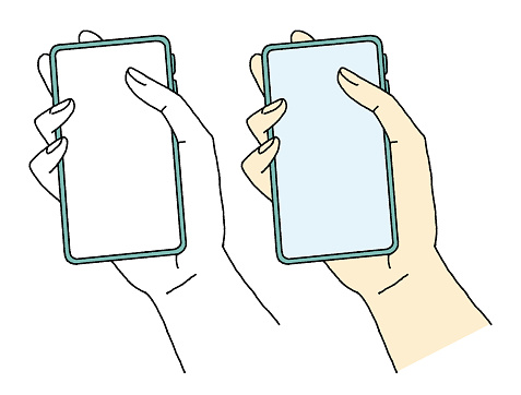 Illustration of a hand holding a smartphone with a simple touch