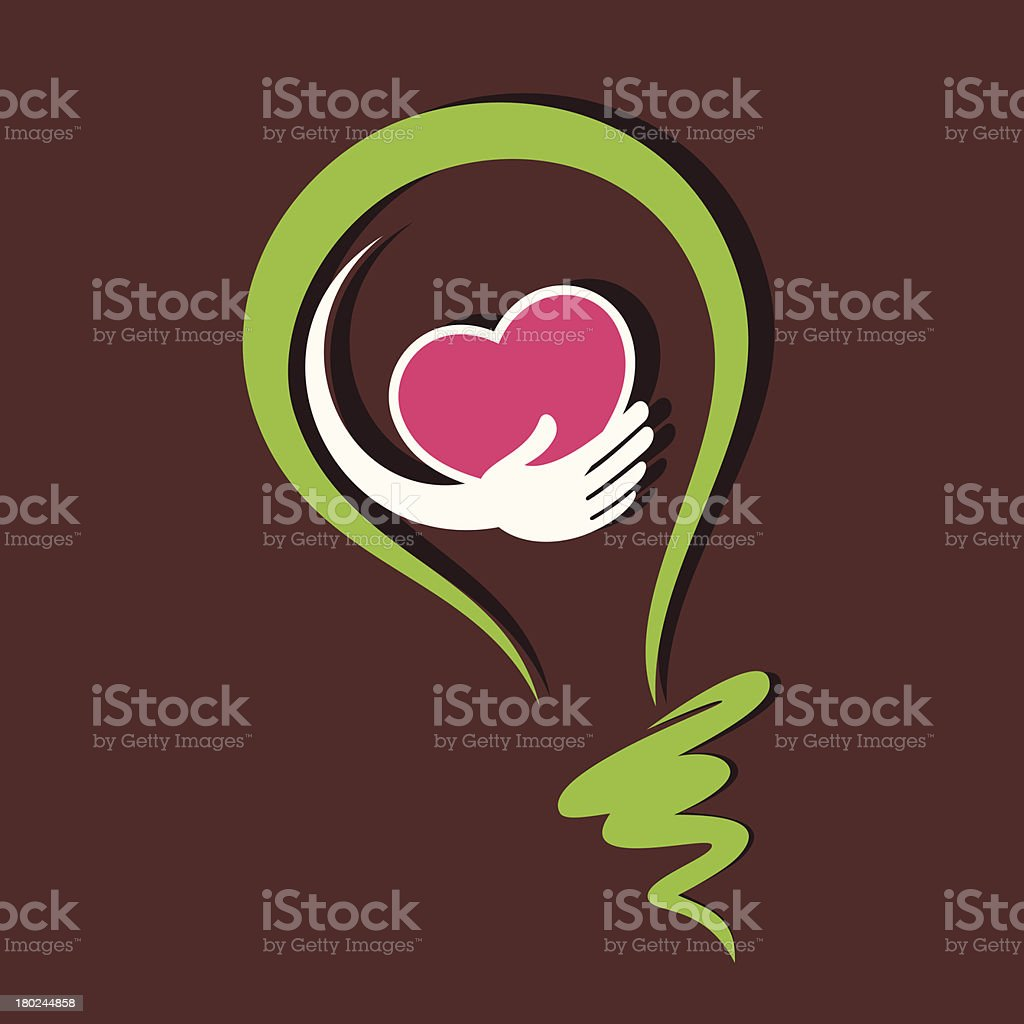Illustration of a hand holding heart in a green lightbulb royalty-free stock vector art
