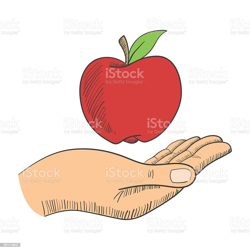 Illustration of a hand with an apple vector art illustration