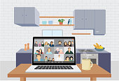 istock Illustration of a happy family on a video conference 1227597613
