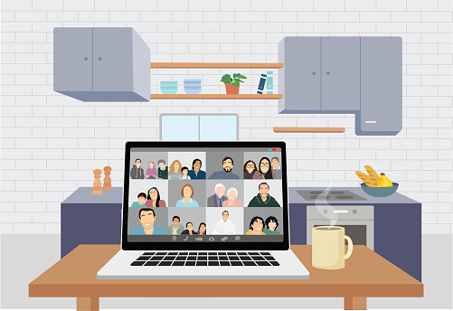 Illustration of a happy family on a video conference