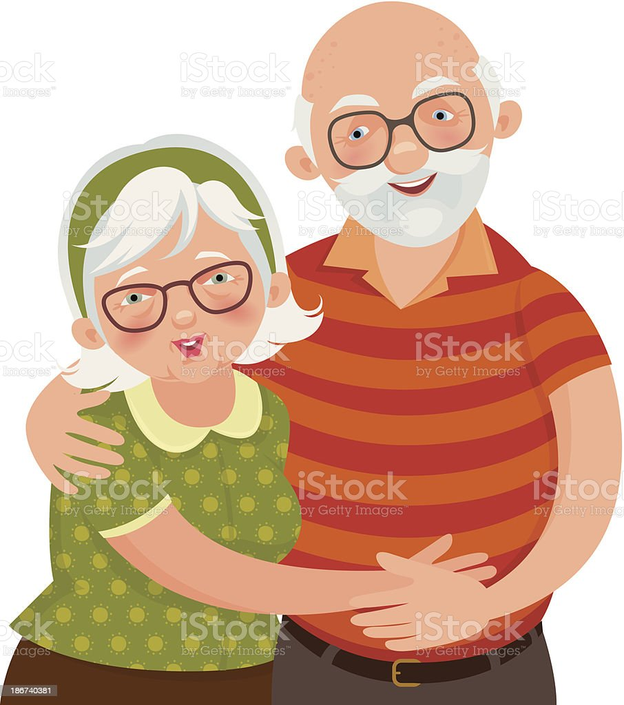 Illustration of a happy white-haired old couple vector art illustration