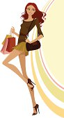 Illustration of a happy woman carrying shopping bags
