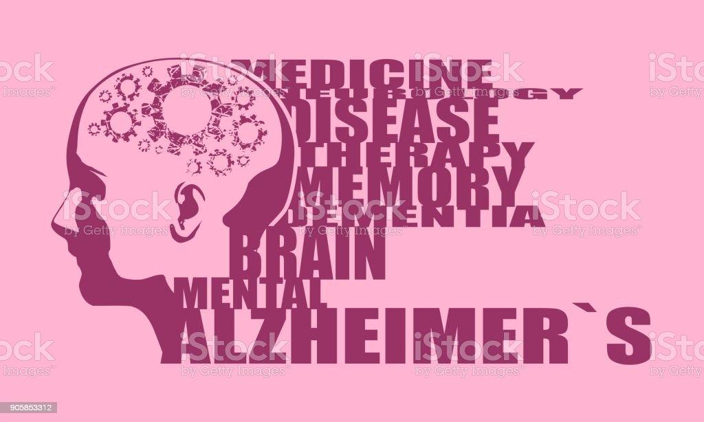 Illustration d'une tête avec le cerveau - Illustration vectorielle