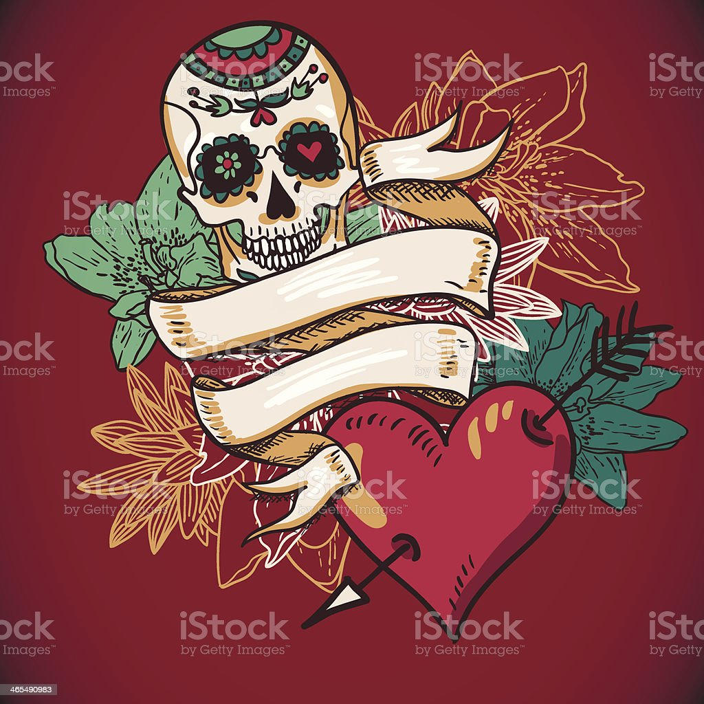 Illustration of a heart flowers and skull with banners vector art illustration