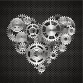 Vector illustration of interlocking gears arranged in a heart shape.