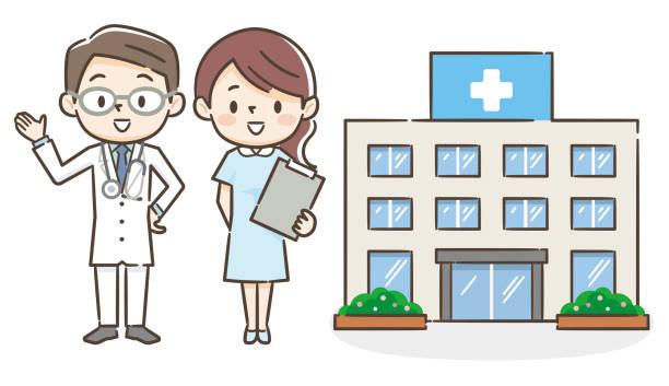 illustrazioni stock, clip art, cartoni animati e icone di tendenza di illustration of a hospital with a male doctor and a nurse - solo giapponesi
