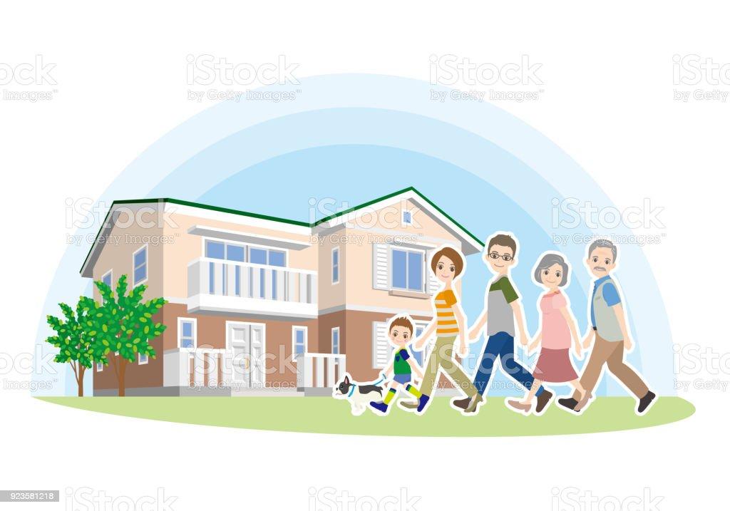 家と家族のイラスト ベクターアートイラスト