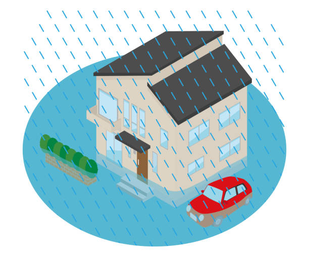 Illustration of a house flooded by too much rain. vector art illustration