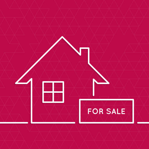 A illustration of a house for sale vector art illustration