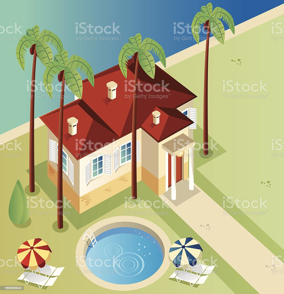 Illustration of a house from above with palm trees and pool vector art illustration