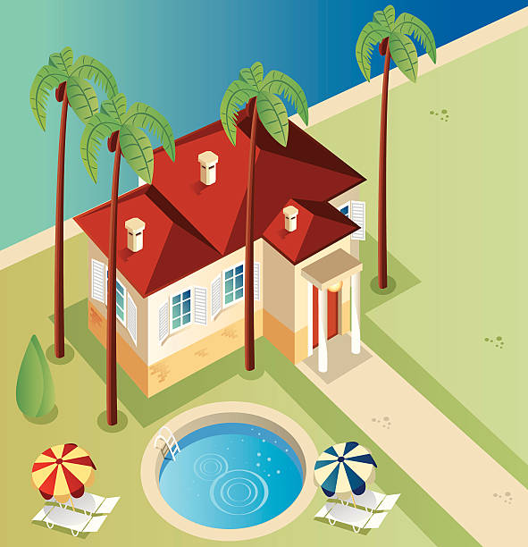 Illustration of a house from above with palm trees and pool Vector House villa stock illustrations