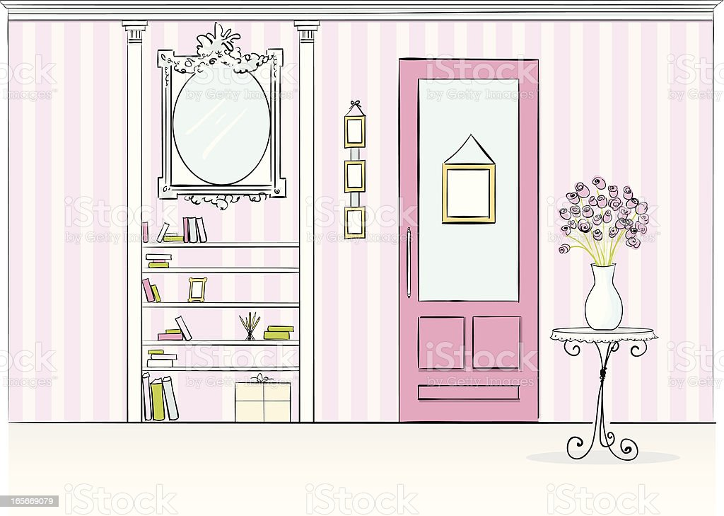 Illustration of a house interior with pink decorations vector art illustration