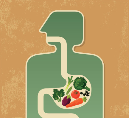 Illustration of a human digesting fruits and vegetables