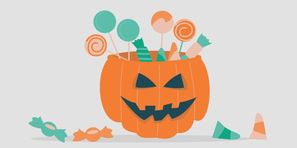 Illustration of a jack-o-lantern filled with treats vector art illustration
