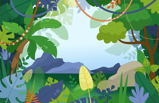 Illustration of a jungle landscape in cartoon style.