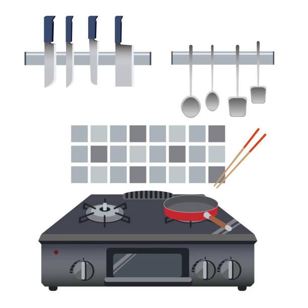 Illustration of a kitchen landscape material with kitchen utensils vector art illustration