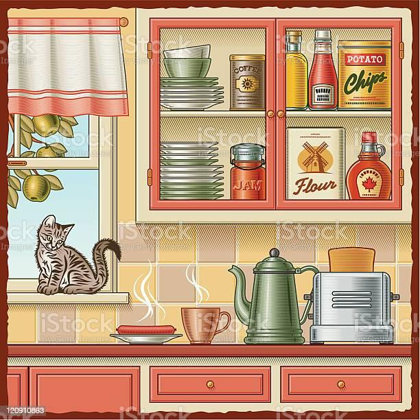 Illustration of a kitchen wall with a cat on the windowsill vector id120910863?b=1&k=6&m=120910863&s=612x612&h=0ywrfchj6yl80meo4sdw6erfwywosaqbrjsvmtlgudi=