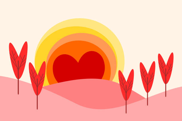 illustration of a landscape in flat design cartoon vector. landscape form hearts for valentine's day. love and heart concept. picture for print, greeting card, poster or graphic design. - leap year stock illustrations, clip art, cartoons, & icons