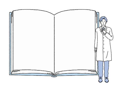 Illustration of a large open book and a doctor