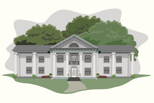 Illustration of a large plantation house