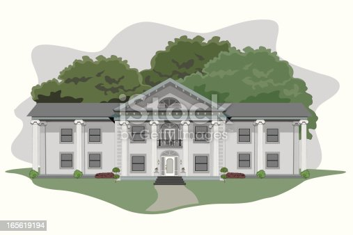 istock Illustration of a large plantation house 165619194