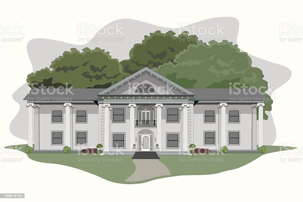 Illustration of a large plantation house vector art illustration