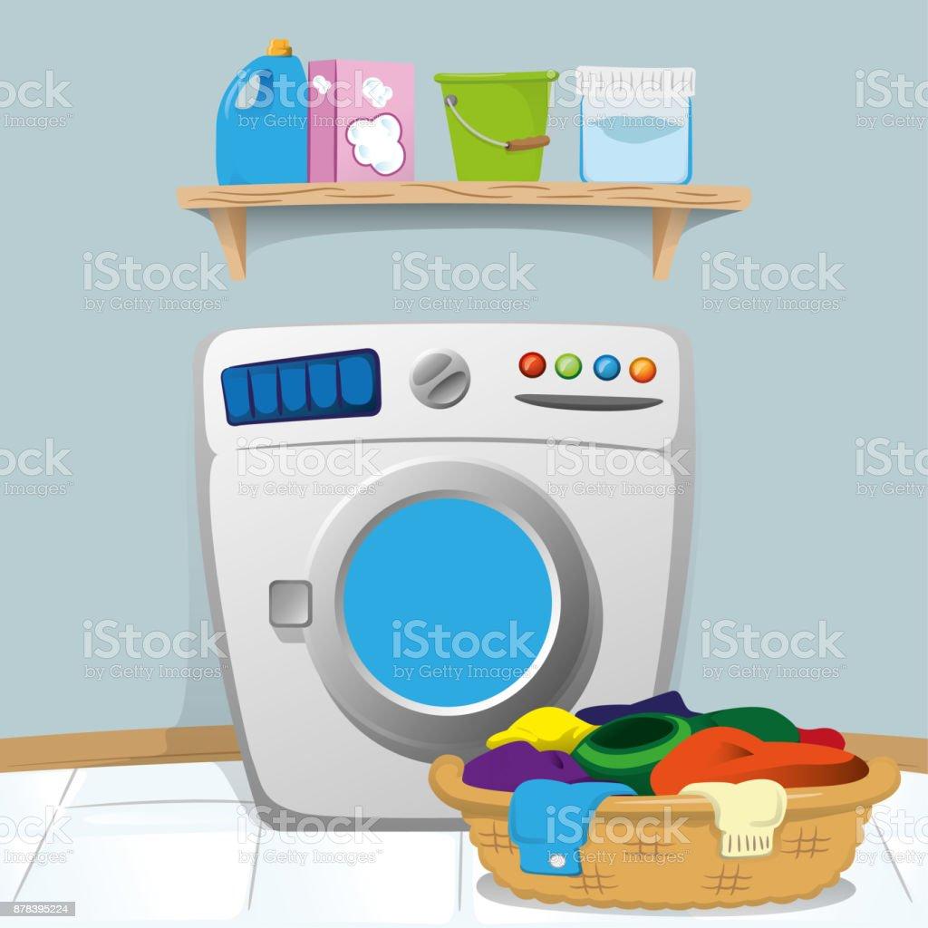 Nettoyer Machine À Laver Le Linge illustration dune buanderie avec lave linge et le nettoyage