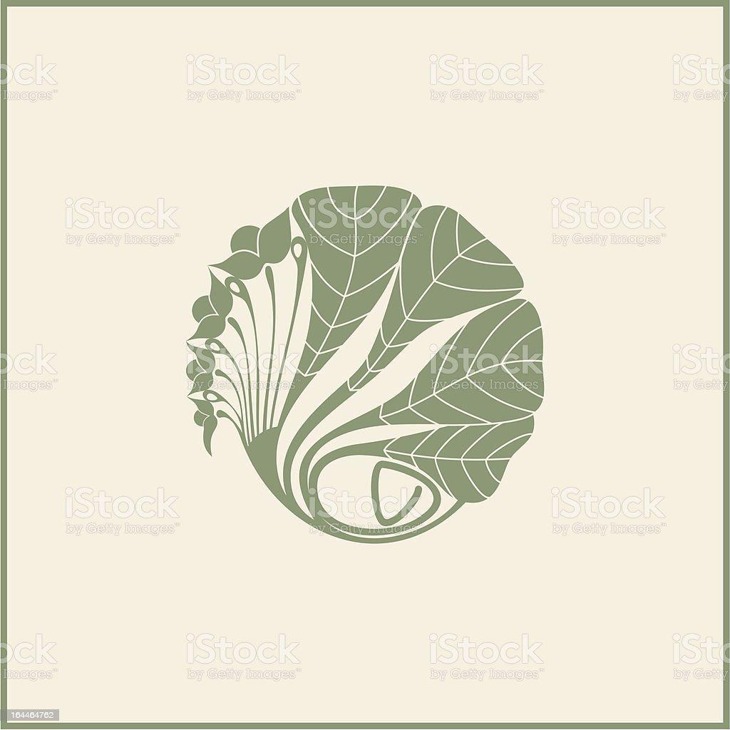 Illustration of a leafy design in muted green color on beige vector art illustration
