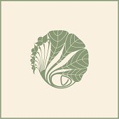 Illustration of a leafy design in muted green color on beige
