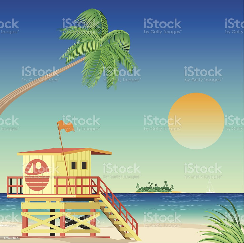 Illustration of a life guard stand on Miami beach royalty-free stock vector art