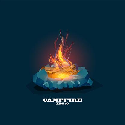 Illustration of a lit campfire ,Vector Campfire,