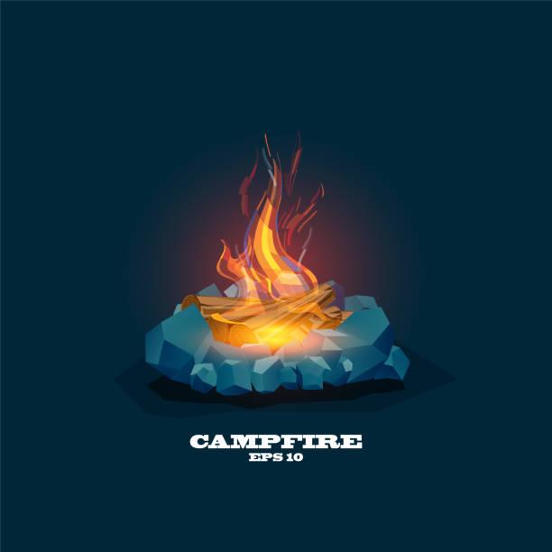 illustrazioni stock, clip art, cartoni animati e icone di tendenza di illustration of a lit campfire ,vector campfire, - falò