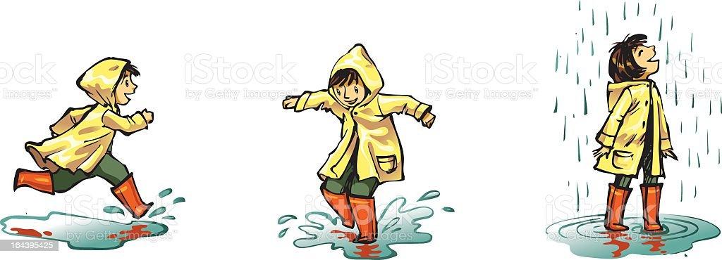 Illustration of a little child splashing around in the rain royalty-free stock vector art